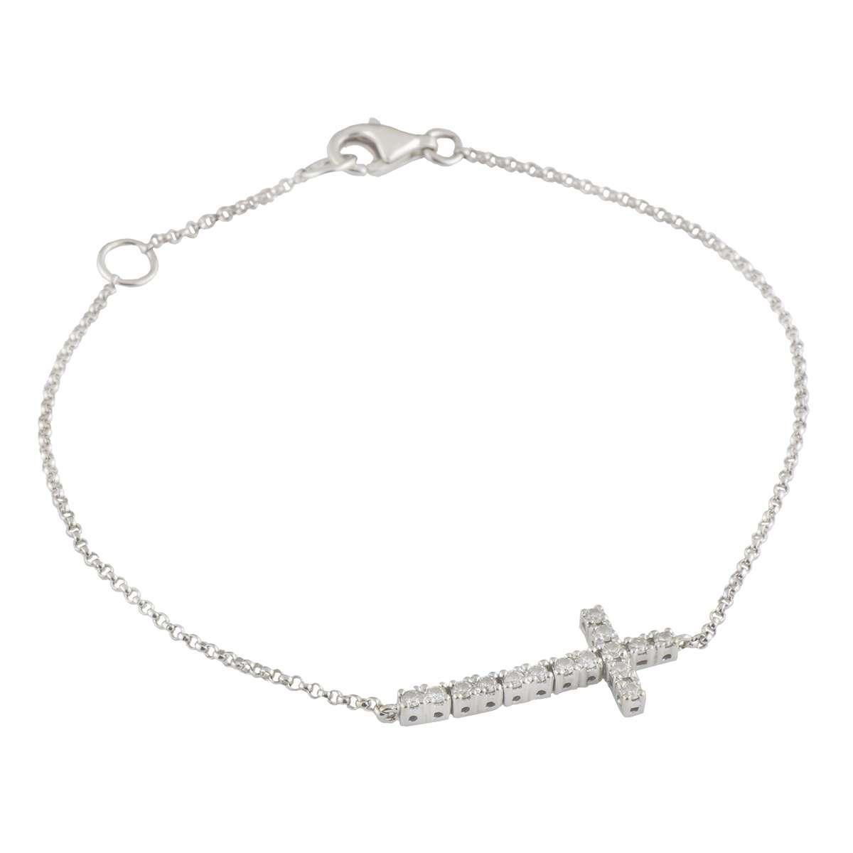 White Gold Diamond Cross Bracelet